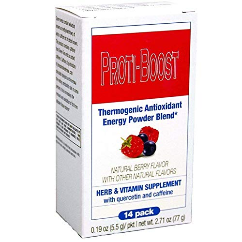 Proti-Boost - Thermogenic Energy Boosting Powder Drink Mix - Antioxidant Drink Mix - With Green Tea, Ginseng, Quercetin and Gingko Biloba – Berry Flavor (14 packets)