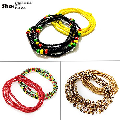 Tuoshei 6 Piece Summer Jewelry Waist Bead Set Colorful Waist Bead Belly Bead African Waist Bead Body Chain Beaded Belly Chain Bikini Jewelry for Woman Girl