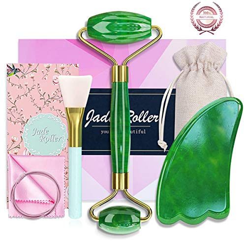 6-in-1 Jade Roller&Gua Sha Tool Set-Jade Roller for Face/Eye/Neck-100% Real Natural Facial Roller for Reduce Puffiness Wrinkles-Anti Aging Face Massager for Women- Muscle Relaxion&Rejuvenate Skin