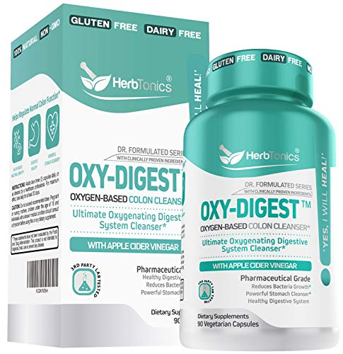Oxy-Digest Oxygen Based Colon Cleanse and Detox Digestive System Formula with Keto BHB Salts & Apple Cider Vinegar 120 Vegan Capsules - Ultimate Cleanser Supplement