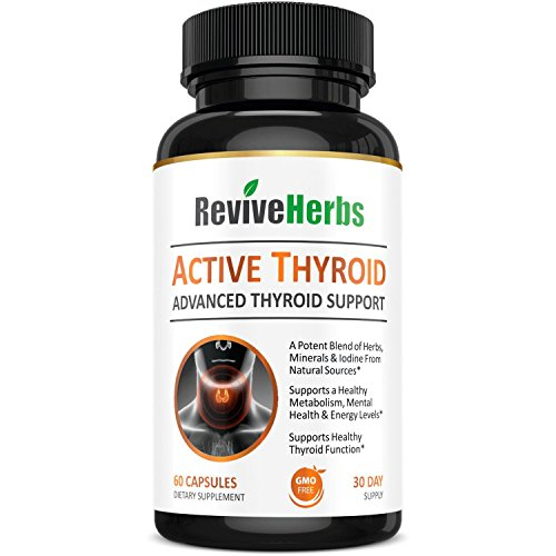 Premium Thyroid Support With Ashwagandha, Iodine, Selenium, Magnesium, Zinc, Kelp, B12 & More for Hypothyroidism, Weight Loss, Increased Energy & Metabolism by Revive Herbs
