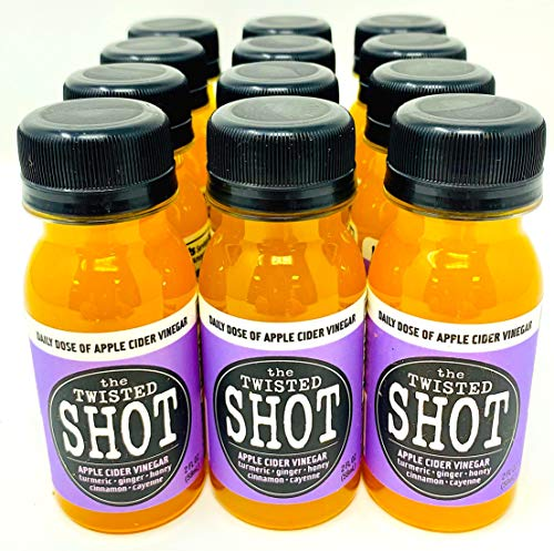 The Twisted Shot | Organic Apple Cider Vinegar Shots with Turmeric, Ginger, Cinnamon, Honey & Cayenne | 12-Pack of 2oz Shots