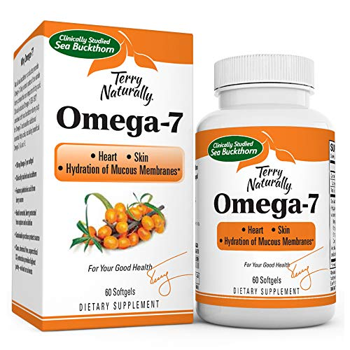 Terry Naturally Omega-7-500 mg Sea Buckthorn, 60 Vegan Softgels - Heart & Skin Support Supplement, Enhanced with Omegas 3, 6 & 9 - Non-GMO, Gluten-Free - 60 Servings