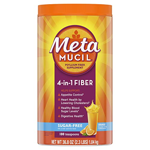 Metamucil Sugar-Free Fiber Supplement, 180 Servings, 4-in-1 Psyllium Husk Powder, Orange Flavored Drink, 36.8 Ounce, 2.3 Pound (Pack of 1)