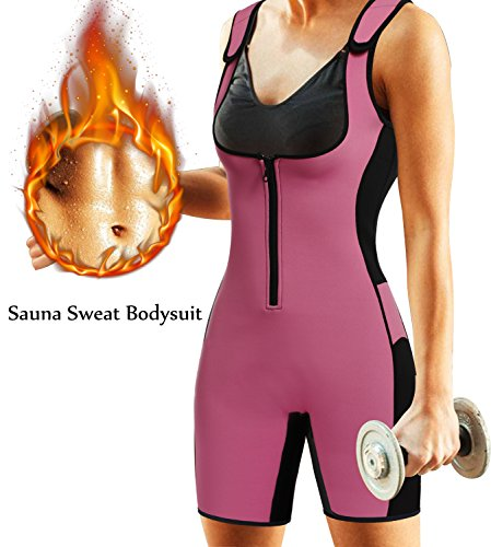 BRABIC Women's Full Body Shapewear Sport Sweat Neoprene Suit,Waist Trainer Bodysuit with Adjustable Straps for Weight Loss (M, Pink Sweat Sauna Suit)