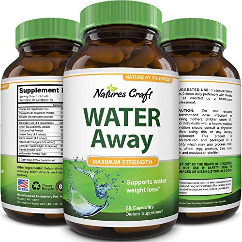 Natural Water Pills - Reduce Excess Water - Weight Loss Appetite Suppressant Benefits - Vitamin B6 Pyridoxine Hydrochloride - Dandelion Root + Pure Green Tea Diuretic for Women & Men