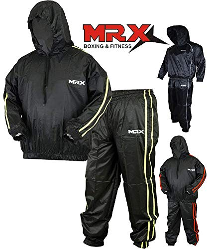 MRX Heavy Duty Sweat Sauna Suit with Hoodie Exercise Gym Suit Fitness Weight Loss Slimming MMA Training Black/Green (Medium)