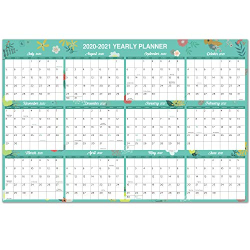 2020-2021 Yearly Wall Calendar - 2020-2021 Academic Yearly Full Wall Calendar with Thicker Paper, July 2020 - June 2021, Bonus Pocket, 34.8' x 23', XLarge, Horizontal - Green Floral