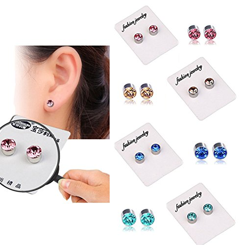 4 Pairs of Weight Loss Crystal Fake Earrings Healthy Stimulating Acupoints Stud Magnetic Therapy (4 Colors in 1 Set: Champagne, Pink, Royal Blue, Lake Blue)