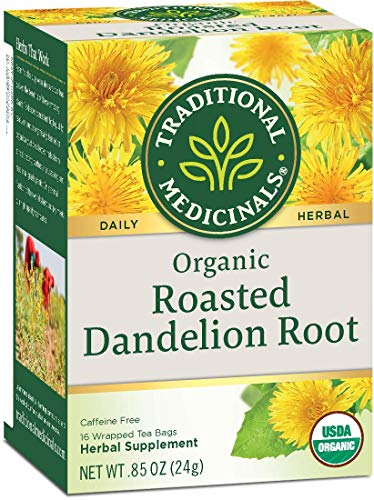 TRADITIONAL MEDICINALS Organic Roasted Dandelion Root, 16 Count (2 Pack)