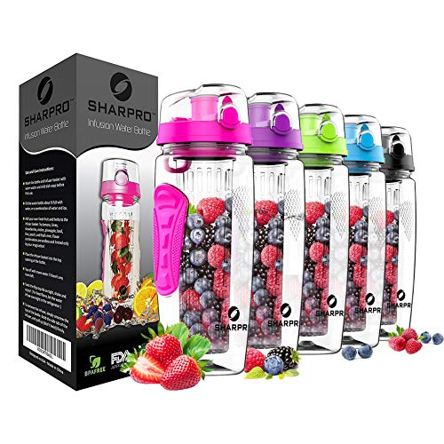 sharpro 32 oz. Infuser Water Bottles - Featuring a Full Length Infusion Rod, Flip Top Lid, Dual Hand Grips (Hot Pink)