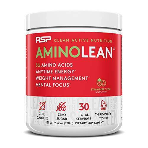 RSP AminoLean - All-in-One Pre Workout, Amino Energy, Weight Management Supplement with Amino Acids, Complete Preworkout Energy for Men & Women, Strawberry Kiwi, 30 (Packaging May Vary)