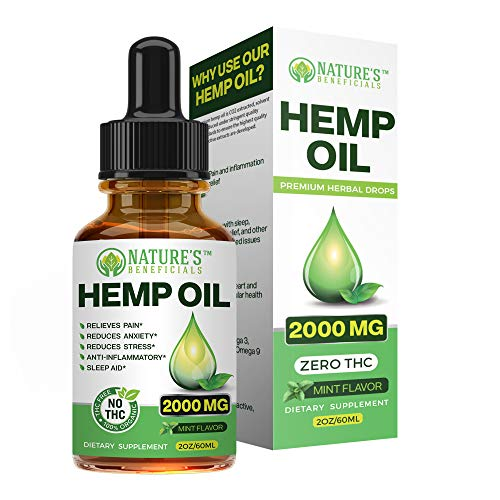 Organic Hemp Oil Extract Drops 2000mg - Ultra Premium Pain Relief Anti-Inflammatory, Stress & Anxiety Relief, Joint Support, Sleep Aid, Omega Fatty Acids 3 6 9, Non-GMO Ultra-Pure CO2 Extracted