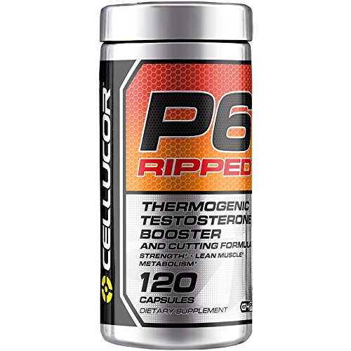 Cellucor P6 Ripped Testosterone Booster For Men + Thermogenic Weight Loss Formula, Build Strength & Lean Muscle, Boost Metabolism & Energy, 120 Count