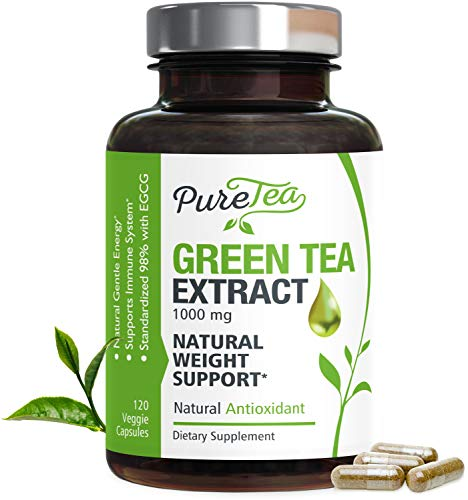 Green Tea Extract 98% Standardized EGCG for Healthy Weight Support 1000mg - Supports Healthy Heart, Metabolism & Energy with Antioxidants & Polyphenols - Gentle Caffeine, Made in USA - 120 Capsules