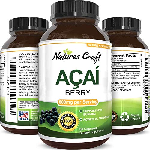 100% Pure Natural Acai Berry Weight Loss Supplement Detox Products Anti-Aging Antioxidant Superfood Cleanse and Burn Fat Improve Health Boost Energy Cardiovascular Health and Digestion