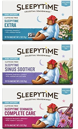 Celestial Seasonings Wellness Caffeine-Free Herbal Tea 3 Flavor Variety Bundle, 1 Each: Sleepytime Extra Tea, Sleepytime Echinacea Complete Care Tea, Sleepytime Sinus Soother Tea (20 Count Ea.)