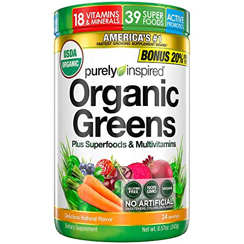 Purely Inspired Organic Super Greens Powder with Superfoods & Multivitamins , Non-GMO, Gluten Free, Vegan Friendly, Unflavored, 24 Servings, 8.57 Ounce