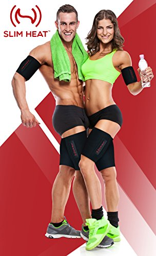 Slim Heat Arm & Thigh Trimmers for Women & Men (4-Pc Set) - Increases Heat & Sweat Production - Body Wraps for Slimmer Toned Arms & Legs Muscles - Free Carry Bag