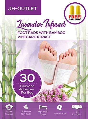 30 Premium Lavender Infused Foot Pads with Bamboo Vinegar | Improve Your Sleep! | Stress Relief | 100% Organic and FDA Certified Foot Patches