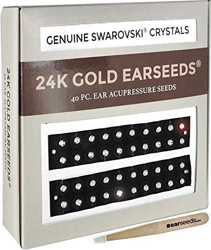 Ear Seeds: 24K Gold + Swarovski Crystals EarSeeds Acupressure Kit - 40 Pieces Ear Seeds with Bonus Free Tweezers & Chart - Clear Latex-Free Tape - Auriculotherapy Pellets for Balance & Wellness