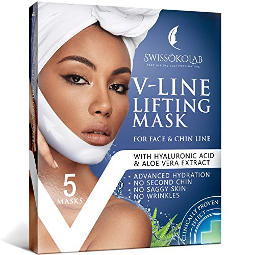 V Line Mask Chin Up Patch Double Chin Reducer Chin Mask V Up Contour Tightening Firming Face Lift Tape Neck Mask V-Line Lifting Patches V Shaped Slimming Face Mask 5 pcs