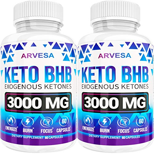 Keto Diet Pills - 5X Dose (2 pack | 3000mg Keto BHB) - Best Exogenous Ketones BHB Supplement for Women and Men - Boost Energy & Focus, Support Metabolism - Made in USA - 120 Capsules