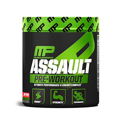 MusclePharm Assault Pre-Workout Powder, Pre-Workout Creatine for Energy, Focus, Strength, and Endurance, Fruit Punch, 30 Servings