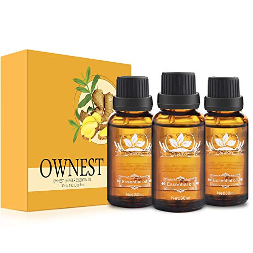 Ownest 3 Pack Ginger Massage Oil,100% Pure Natural Lymphatic Drainage Ginger Oil,SPA Massage Oils,Repelling Cold and Relaxing Active Oil-30ml