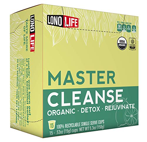 LonoLife Master Cleanse Powder-Lemonade Detox Diet with Lemon, Maple Syrup and Cayenne, Single Serve Cups, 15 Count