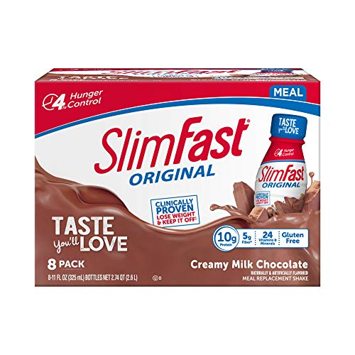 SlimFast Original - Weight Loss Meal Replacement RTD Shakes - With 10g Of Protein & 5g Of Fiber - Plus 24 Vitamins and Minerals per serving - Creamy Milk Chocolate, 8 Count