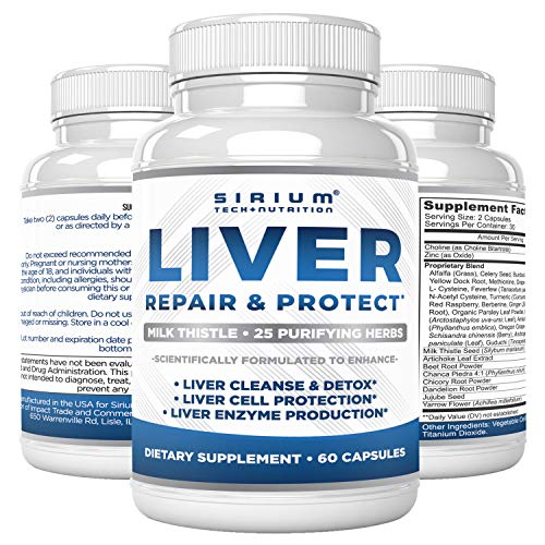 Liver Detox Cleanse Supplement - Liver Support for Optimal Liver Health - Premium 30:1 Milk Thistle 80% Silymarin - 25 Purifying Herbs - Liver Care for Men & Women - 60 Capsules
