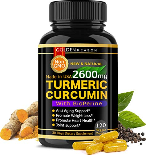 Turmeric Curcumin 2600mg. Immune Support* Joint Support* Promotes Natural Weight Loss* and Heart Health* with Bioperine (Black Pepper) 120 High Quality Veggie Capsules. Non GMO. Made in USA. (120)