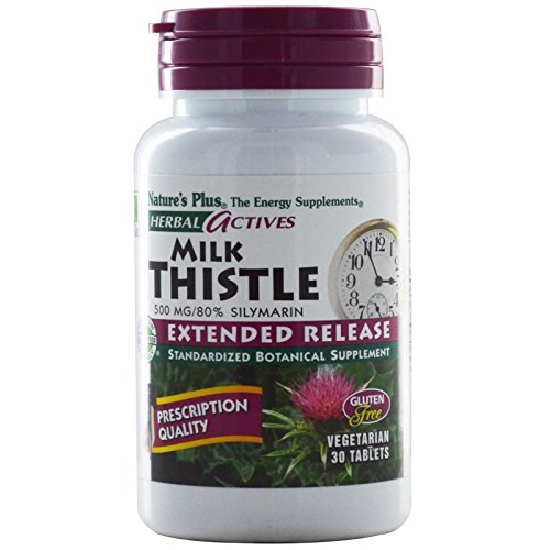 NaturesPlus Herbal Actives Milk Thistle, Extended Release - 500mg, 80% Silymarin, 30 Vegetarian Tablets - Liver Detox & Regenerator Support Supplement, Anti-Inflammatory - Gluten-Free - 30 Servings