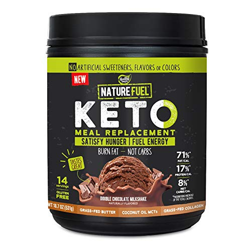 Nature Fuel Keto Meal Replacement Powder, Gluten Free with Coconut Oil, MCT Oil and Grass-Fed Butter, Double Chocolate Milkshake, 14 Servings