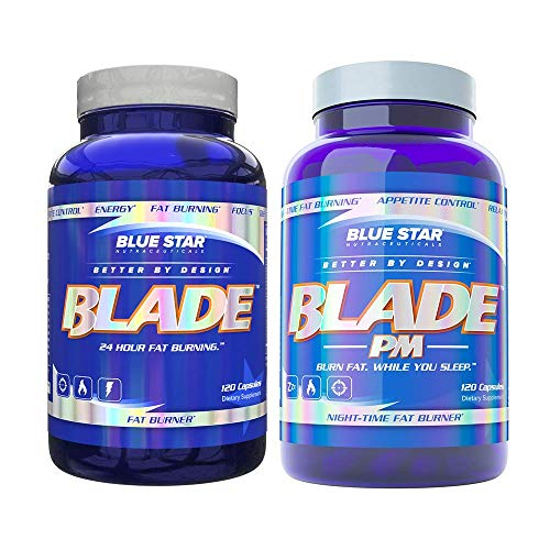 Blade Fat Burner for Men + Blade PM by Blue Star Nutraceuticals: 24 Hour Fat Burning Stack to Boost Metabolism, Support Weight Loss, Suppress Appetite and Improve Sleep Quality, 120 Diet Pills Each