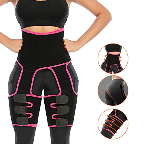 Enjoyee Waist and Thigh Trainer for Women, 3-in-1 Thigh and Waist Trainer with Adjustable High Waist Design, Butt Lifter Thigh Trimmer for Women Plus Size Weight Loss Everyday Wear Fitness Exercise