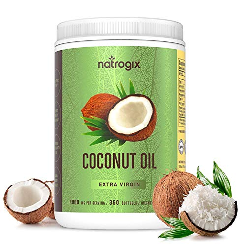 Virgin Coconut Oil Capsules 4000mg/Serving (360 Softgels) by Natrogix-Highest Potency MCT Oil Improves Hair, Skin, Heart, Digestive Health & Immune System Booster, Healthy Weight Loss/Made in USA