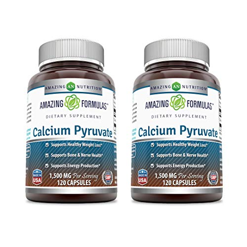 Amazing Formulas Calcium Pyruvate Supplement 1500mg 120 Capsules (Non-GMO, Gluten Free) -Best Supplements for Healthy Weight Management & Energy Support Plus Bone & Nerve Health (Pack of 2)