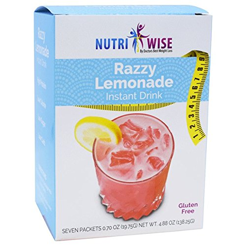 NutriWise - Lemon Razzy Diet Fruit Drink | Healthy Delicious Beverage | High Protein, Fat Free, Low Cholesterol, Low Calorie, Low Carb, Sugar Free, Aspartame Free (7/Box)
