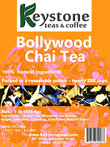 Bollywood Chai – Chai spiced tea 16 Oz (160 Cups) Natural Ingredients: Ginger, Cardamom, Cinnamon, Clove blend as per authentic recipe. (16 Oz)