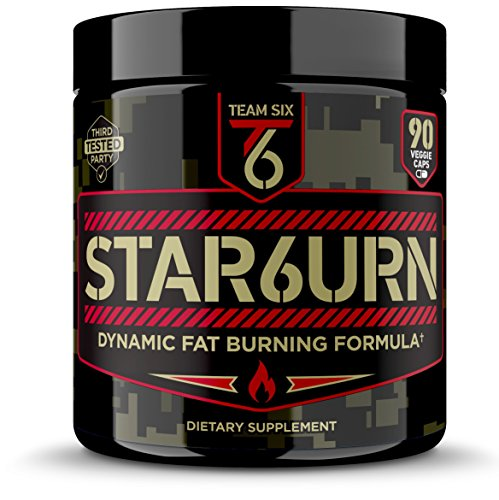 T6 STAR6URN – Thermogenic Fat Burner, Weight Loss Pills for Men and Women with Chromium, Pure Forskolin and 7 More Shredding Diet Ingredients - Appetite Suppressant, 30 Day Supply