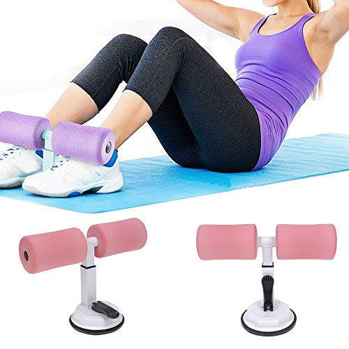 TXIN Sit-ups Assistant Device, Adjustable Sit Up Exercise Bar, Self-Suction Travel Workout Fitness Home Gym Equipment for Men Women Abdomen Waist Arm Leg Stretching Slimming Muscle Training, Pink