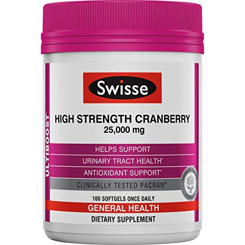 Swisse Ultiboost High Strength Cranberry Supplement   Urinary Tract Health Support   25, 000 mg, 100 Softgel Tablets