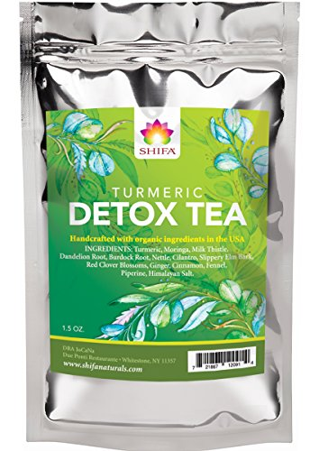Shifa Detox Tea With Turmeric: Detoxifying Formula with Herbs, Phytonutrients and Antioxidants for Gut Cleansing and to Reduce Bloating — 1.75 0z