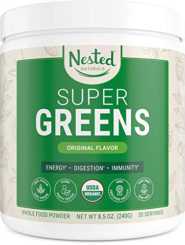 Nested Naturals Super Greens | #1 Green Superfood Powder | 100% USDA Organic Non-GMO Vegan Supplement | 30 Servings | 20+ Whole Foods (Spirulina, Wheat Grass), Probiotics, Fiber & Enzymes (Original)