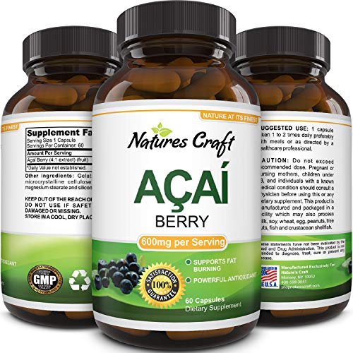 Pure Acai Berry Pills – 600mg Premium Concentrate Pills for Weight Loss – Fat Burner Pills – Natural Potent Acai Berry Diet Supplement Capsules – Antioxidant Cleanse Detox (ACAI Berry v1)