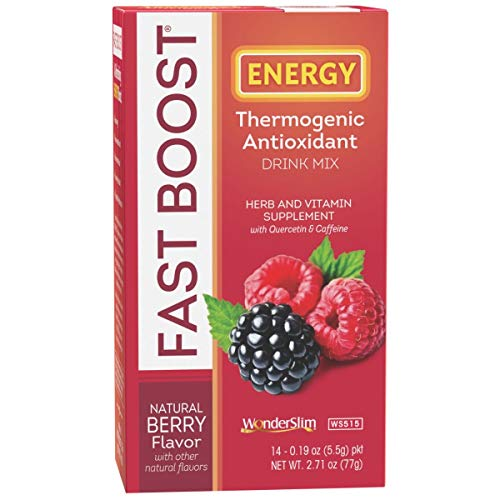 FAST BOOST Thermogenic Energy Boosting Powder Drink Mix by WonderSlim - Antioxidant Drink Mix - With Green Tea, Ginseng, Quercetin and Gingko Biloba – Natural Berry Flavor (14 packets)