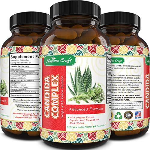 Natural Candida Cleanse – Immune Booster Supplement with Probiotic Oregano Leaf Oil Extract – Pure Formula for Yeast Infection Support for Men and Women – Cleanser and Weight Loss – Natures Craft