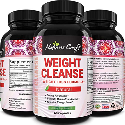 Natures Craft Extra Strength Energy Blend Appetite Suppressant / Fat Burner Made With Best Garcinia Cambogia HCA + Raspberry Ketones + Green Coffee Bean Extract - Rapid Weight Loss Pills